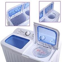Mini Twin Tub Washing Machine. The washer has an 11 pound capacity. The spinner has a 6.6 pound capacity. Half your washer load to spin dry at one time.